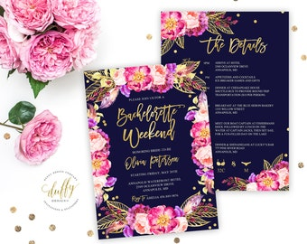 Bachelorette Party Invitations, Bachelorette Party, Watercolor, Flower, Pink, Gold, Purple, Printable, Boho Floral, Hens Night, Invitation