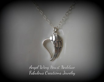 Angel Wing Heart Necklace, Silver Necklace, Gifts for Mom, Spiritual Jewelry, Gifts for Best Friends, Angel Wing Necklace, Silver Heart