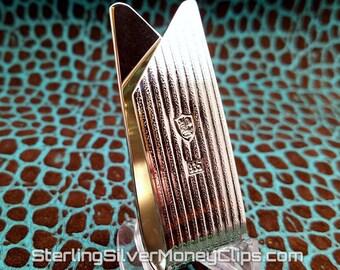 38.7g 8 Card Phantom Textured Stripe Twist Credit Card Clip Argentium Sterling Silver High Polished, 16 Gauge, Heirloom Quality 935 USA MADE