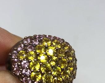 Vintage Handmade Golden Genuine Lemn Quartz and Pink Tourmaline 925 Sterling Silver gothic Ring