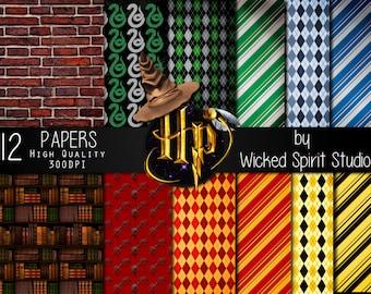 Harry Potter inspired Scrapbook Paper Set/ INSTANT DOWNLOAD/ Printable/ DIY/ Scrapbooking/ Paper/ digital paper/ textures/ crafts Hogwarts