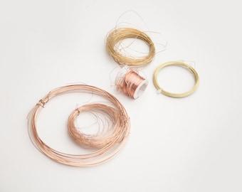 BRONZE BRASS + COPPER, wire destash, craft supplies, bronze wire, brass wire, copper wire, junk drawer, clearance