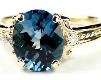London Blue Topaz, 14KY Gold Ring, R136