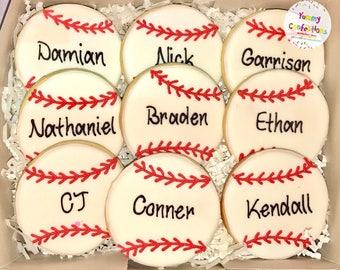 Baseball Cookies - 1 Dozen (12 Cookies)