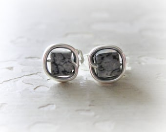 Cube Stud Earrings, Square Stud Earrings, Sterling Post Esrrings, Snowflake Obsidian Studs, Stone Stud Earrings, Hypoallergenic, Black White