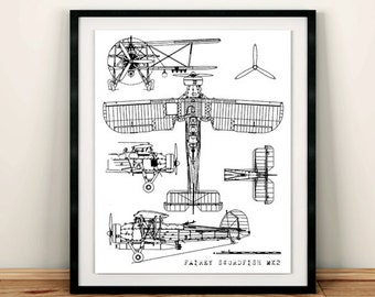 "Biplane Blueprint, Instant Download, Airplane Blueprint, Fairey Swordfish, Biplane Decor, Vintage blue print, 5x7"" 8x10"""