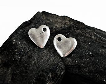 Antique Silver Heart Charms 16x16mm, Double Sided Heart Pendants, 5 pieces
