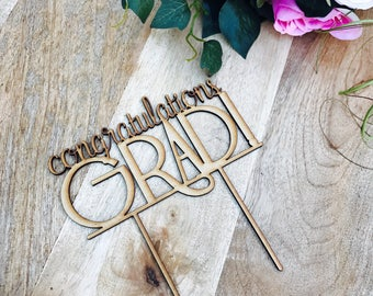 CLEARANCE! 1 ONLY TIMBER Congratulations Grad Cake Topper Graduation Cake topper Congrats Grad Graduation Cake Topper Graduation cake decora