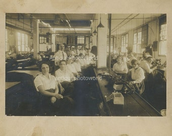 Women workers seamstresses sewing factory antique photo