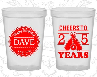25th Party Favor Cups, Happy Birthday, Cheers to 25 years Cups, Party Favor Cups, Cheers Party Cups, Cheers Birthday Cups (20164)