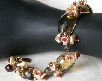 Whiskey Quartz bracelet, handmade garnet, pearl, 22k-gold vermeil jewelry-OOAK