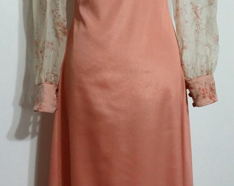 Silk Maxi, XXS, XXXS, 70's maxi dress, peach maxi, sheer maxi, floral maxi, pastel maxi, long sleeve maxi, vintage maxi