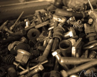 Nuts & bolts - Black and white Photograph, Wall Art