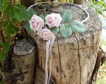 SALE Rose Headdress Dusky Pink Flower Fairy