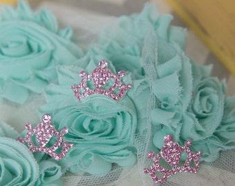 Pink rhinestone crown button, Rhinestone Button Acrylic Rhinestone, 22 mm Flatback Princess Embellishment, Baby Headbands Supplies flat back