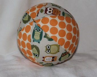 New!  Small Off-White Owls Boutique Ball Rattle Toy