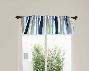Striped valance, striped curtain top