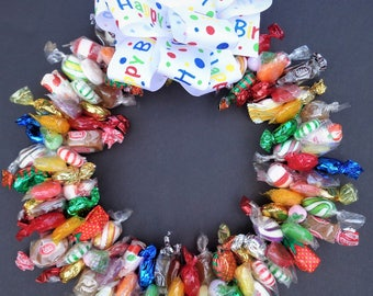 Mixed Candy Arrangement Wreaths Edible Unique Gifts Centerpiece Birthday Gift Ideas Thinking of You Nursing Home Hostess