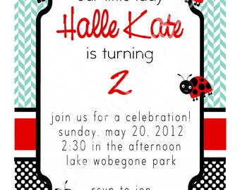 Ladybug LIttle Girl's Birthday Party Invitation- red, blue, black