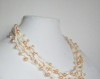 Cream Crochet Necklace with Blush Pearls
