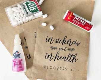 20 Bags // In Sickness and In Health Craft Paper Bag // Recovery Kit // Wedding Favor Bag
