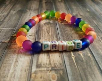 Pride bracelet/ rainbow stretch bracelet/ LGBT jewelry/ equality bracelet