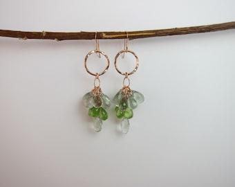 Green Amethyst, Peridot,14K Rose Gold Filled Wire Wrap Handmade Earrings
