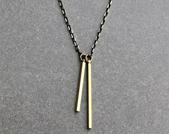 Double Bar Necklace - Men's Necklace - Symbolic Jewelry - Pendant Necklace - Masculine Necklace - Brass Jewelry by Modern Out