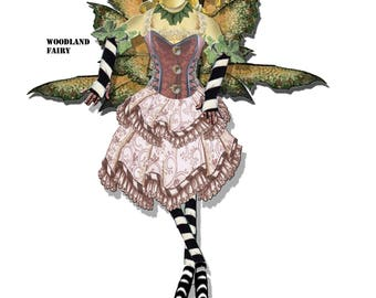 fairy doll Articulated paper doll instant download just print and cut collage sheet craft doll scrapbook page