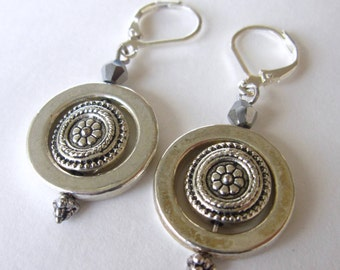 Bright Silver Hoops with Elegant Silver Medallion Centerpiece Dangles