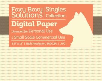 Pastel Polka Dot Digital Paper - Single Sheet in Pastel Blue, Brown, & Orange on a Cream Background - Printable Scrapbooking Paper