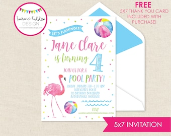 Flamingo Birthday, Pool Party Birthday Invitation, Flamingo Invitations, Pool Party Birthday Decorations, Lauren Haddox Designs