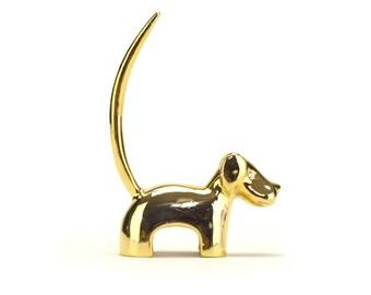 Vintage Gold Brass Dog Dachshund Ring Jewelry Holder Figurine - Mid Century Hound Puppy - Hollywood Regency - Scottie Dog Lover Gift Terrier