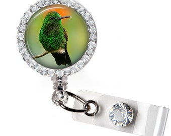 Rhinestone Hummingbird 01 Bottle Cap Retractable ID Badge Reel, Nurse Badge Reel, 8 Colors To Choose From