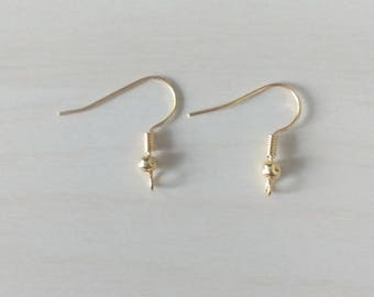 8 x Gold plated earwires x 8 - 18mm fish hooks - Ear wires [EF009]