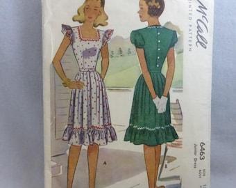 Vintage McCall Pattern 6463 Junior Size 15 Summer Dress