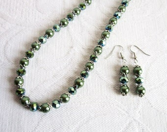 Dark Green Pearl and Crystal Necklace and Earrings