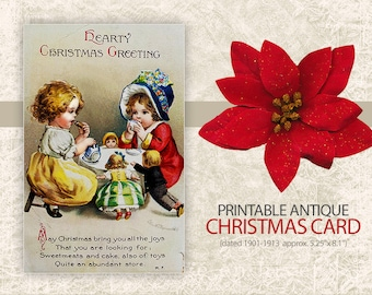 Digital Christmas Postcard - Antique Vintage Christmas Postcard Print - Victorian Christmas Card - Digital Card Printable - INSTANT DOWNLOAD