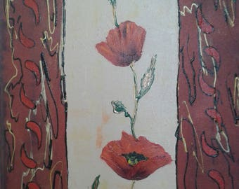 Abstract painting Garland acrylic painting on Canvas 3D Garland of poppies, red flowers, deco Interior floral art, mother's day