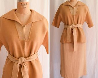 1950s Two Piece Set | Caramel Plaid | Vintage 50's Dolman Sleeve Top Matching Pencil Skirt Wool Zip Front Self Belt VLV 50s Suit Bust 38