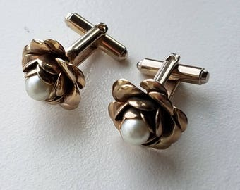 Gold Tone Rose Pearl Cuff Links