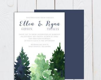 Watercolor Trees wedding invitation, Tree invitation, pine tree invitation, woods invite, trees invite, evergreen tree invitation, pine tree