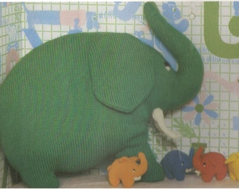 Vintage Elephant Cushion and Toys Knitting PDF Pattern