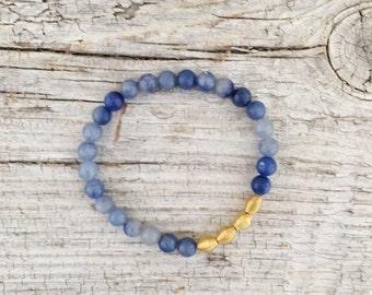 Blue aventurine gemstone stretch bracelet with gold plated accents,stack bracelet,bracelet set,stacked bracelet,boho br