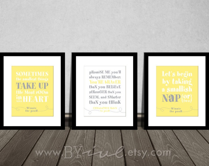 Winnie the Pooh quotes, Nap time, Baby girl gift, soft Yellow Gray, Neutral colors. Nursery DIY Printable.