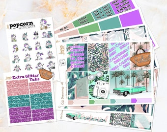 Cali Dreaming set kit weekly stickers - for Erin Condren VERTICAL planner - California tropical palm summer beach retro