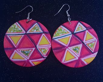 Hand painted Pink Yellow tribal boho Afro Bohemian Statement wood Summer earring