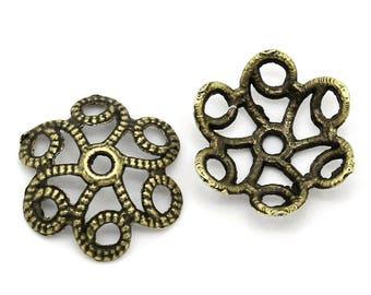 Filigree bead caps antique bronze metal flowers