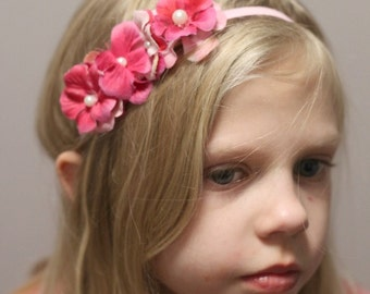 Pink floral Headband. Little girls Hydrangea Headband