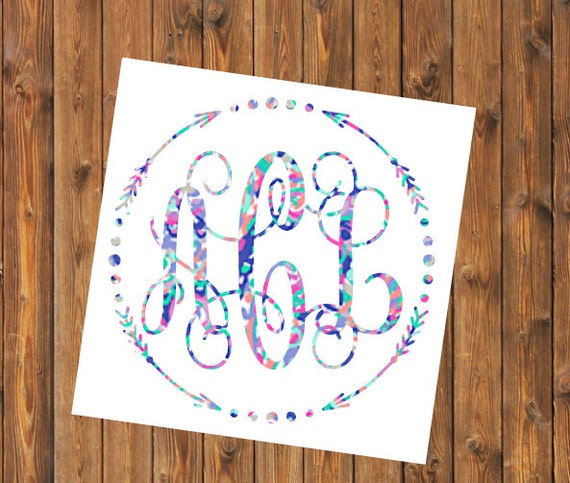 Free Shipping- Lilly Pulitzer Inspired Decal, Floral Decal, Vine Monogram, Arrow Monogram, RTIC SIC Corkcicle Personalized, Yeti, Laptop